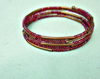 Beaded Bracelet, Fitted Cuff with Red Glass and Rustic Copper: Romany