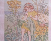 Tansy in the Goldenrod Handpainted Canvas #16 Needlepoint Theodora