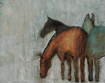 WINTER GRAZE -  Abstract Giclee print from my original oil painting - HORSE Art