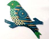 Mixed Media Bird Magnet, Gold Blue Green Bird Magnet, Geometric Bird Magnet, Cut Paper Bird Magnet, Teal Gold Bird, Paper Mosaic Magnet