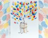 Balloon sloths greeting card