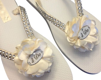 Bridal Flip Flops - Ivory Wedding Flip Flops - I Do Flip Flops - White Beach Sandals - Bride Flip Flops -Beach Wedding - 25 Flower Colors
