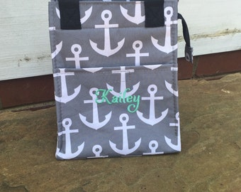 Grey and White Anchor Lunch Bag-includes Monogram-Insulated Lunch Bag-Insulated Cooler-Lunch Box
