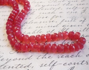 25% Off SALE Grapefruit Pink BIG FAT Chalcedony Rondelle Beads, Your Choice 7mm 8mm 10mm ROndelle Beads ,Full Strand