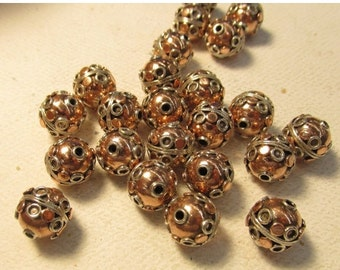 Summer Sale Solid  Sterling Silver Bead, Solid Copper Bead, Round Bead, QTY2, Silver Copper Spacer 10mm