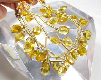 Summer Sale Double Checkerboard Oval Citrine Quartz  Briolette Beads 1/2 strand Perfect For Pairs