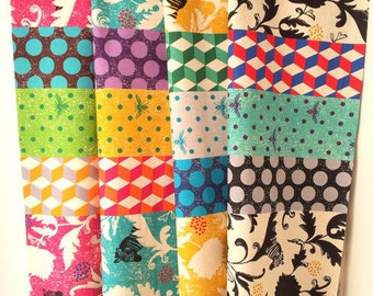 Twin Zebra - ECHINO Decoro 2013 by Etsuko Furuya - fat quarter set of 4