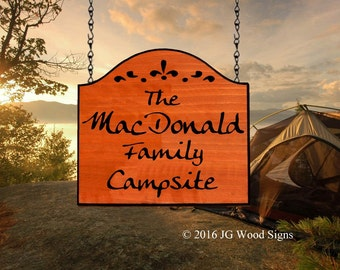 Flourish Design  - Custom Carved Family Name Wood Sign- Personalized RV Signs