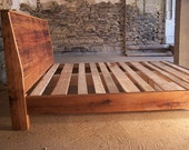 Custom Queen Platform Bed with Slant Back Headboard, 4 Drawers and 2 Nightstands