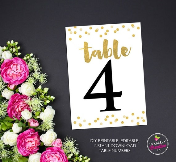 gold confetti printable editable wedding table number cards