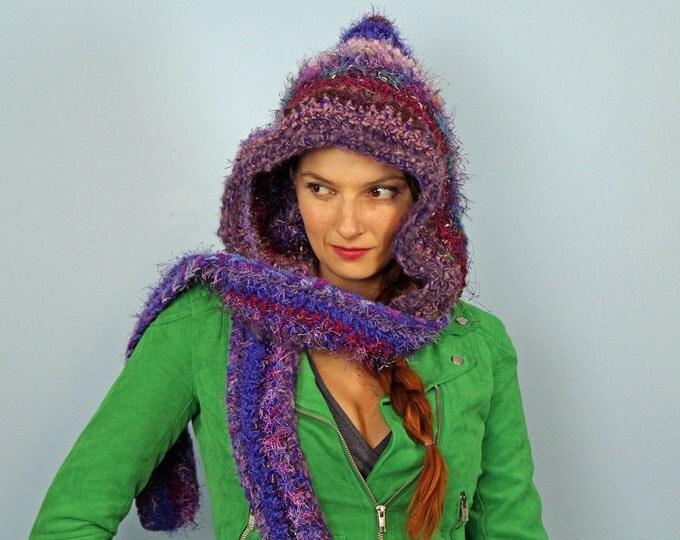 Dark Purple Hooded Scarf Snood Skood