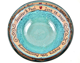 Set of 2 Personalized pottery serving bowls, 9th anniversary serving bowls, wedding serving bowls