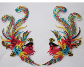1 Pair Of  Large Embroidered Phoenix Iron On Patches Appliques