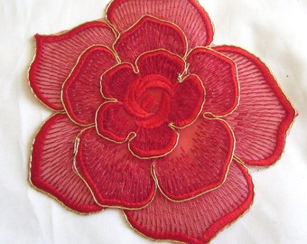 2 Pieces of Large 3D Embroidered  Red Color Flower Iron On Patches Free shipping