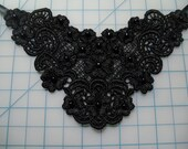 Black floral applique necklace-various beads-trach stoma cover