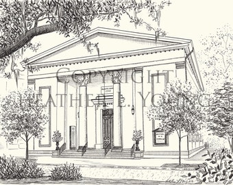 Trinity United Methodist Church - Savannah Black and White Fine Art Print