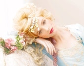 Light Blue & Champagne Marie Antoinette Upscale Halloween Costume Size XSmall with Hat