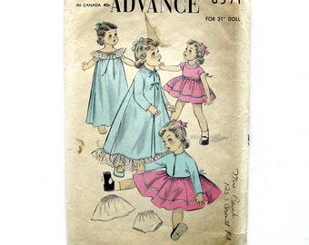 """Vintage Doll's Wardrobe Sewing Pattern / ORIGINAL - Not a Copy / Advance 6571 / Learn to Sew / 21"""" Doll"""