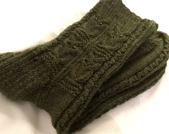 Owl Handknit Woodsy Green Cabled Woman's Socks Merino Wool and Bamboo Blend