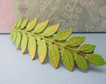 Bridal barrette Ferns leaf hair clip thick hair green fern barrette Hair accessories