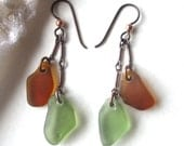 Double Drop Cascade Amber and Fern Sea Glass Earrings on Oxidized Copper