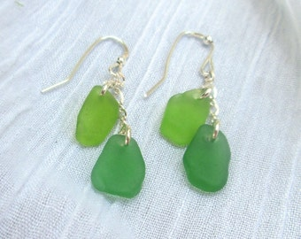 Double Drop Cascade Sea Glass Earrings in Kelly Green and Bright Green, Sterling Silver