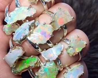 Raw opal ring | Rough opal ring | Opal birthstone ring | Rough opal jewelry | Opal in silver ring | Fire opal ring
