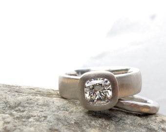 950 palladium and cushion cut diamond wide band, bezel set, low profile engagement ring with matching hammered wedding bands