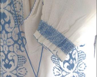Vintage 1980s Womans Top Blouse Sheer Cotton Brazil Size Medium NEW