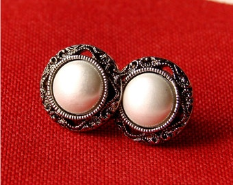Simple and Chic Faux Pearl Stud Earrings - Pearls in Antiqued Silver