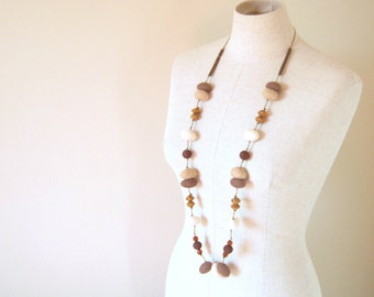 Wool Felted Pebbles Long Neckalce - 2 Ways to Wear it - Brown and Beige Shades