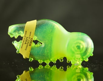 Lobster Claw Glass Spoon Pipe Hand Blown Thick Wall in Slyme, Ready to Ship #386