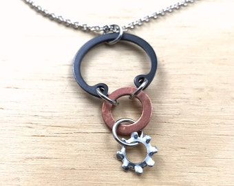 Mixed Metal Pendant Necklace Steampunk Hardware Jewelry