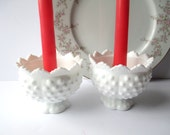 Vintage Pair of Fenton Milk Glass Hobnail Miniature Candle Bowls
