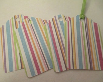 4 Pastel Striped Themed Handmade Gift Tags Hang Tag Thank You Note Packaging Supplies Jenuine Crafts