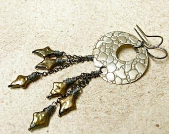 Boho Earrings, Pearl Earrings, Sterling Silver And Brass Gypsy Earrings, Mixed Metal Earrings, Metalwork Earrings, Long Exotic Earrings