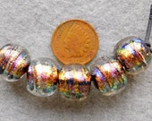 5 Medium Topaz  Swirling Ball Dichroic Beads   made by DEE HOWL BEADS