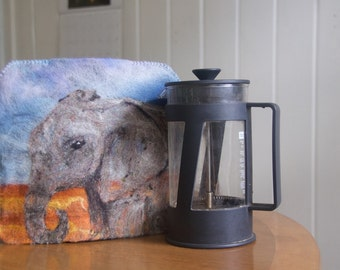 Coffee Press Pot French Press Cozy Cover Needle Felted Elephant and Rock Cairn