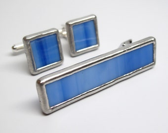 Bright Sky - Mens Stained Glass Cuff Link and Tie Clip Set