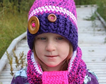 Crochet Hat For Girls with Matching Cowl - Pretty Winter Hat and Cowl Set - Neon Pink and Purple - Buttons - Faux Fur Pom Pom - Custom Made