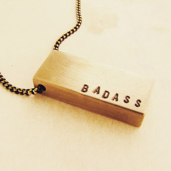 Bar Necklace, Badass necklace, Personalized women's necklace, Name Necklace, gift for her, gift for best friend, fearless badass necklace