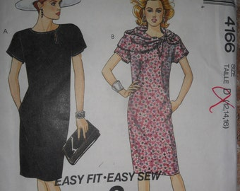 McCall's UnCut Pattern 4166 Misses Dress & Attached Scarf size 12, 14 16