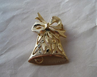 Bell Bow Gold Brooch Pin Vintage