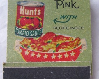 Hunt's Chicken in the Pink Matchbook Vintage Matches Tomato Sauce