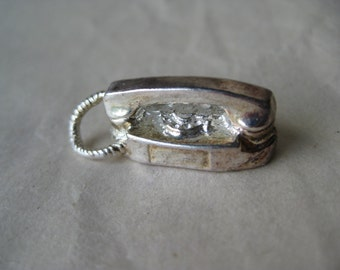 Telephone Dial Phone Sterling Charm Vintage 925 Silver