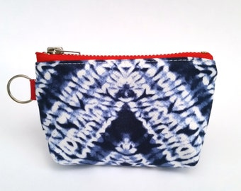 UPCYCLED Shibori Coin Purse. Zipper Pouch. Recycled Fabric Change Purse. Keyring Pouch. Ready To Ship.