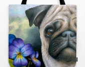 Tote Bag Purse Dog 133 Pug Purple Flower Pansie All over print accessory art L.Dumas Artbylucie Totes