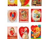 Instant Digital Download Vintage Valentine Cards Mini PDF Cards Treat Bags Cupcake Toppers Party Favors Scrapbooking Mixed Media Supplies