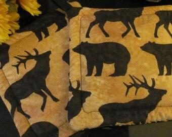 Bear and Elk Pot Holders / Trivets