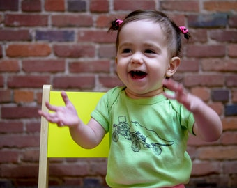 Lime Green Robot and T-Rex Bike Riding Baby Bodysuit
